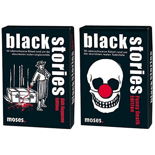 Moses black stories Shit Happens Edition, 50 rabenschwarze Rätsel, Das Krimi Kartenspiel & Moses. Black Stories Funny Death Edition | 50 rabenschwarze Rätsel | Das Krimi Kartenspiel