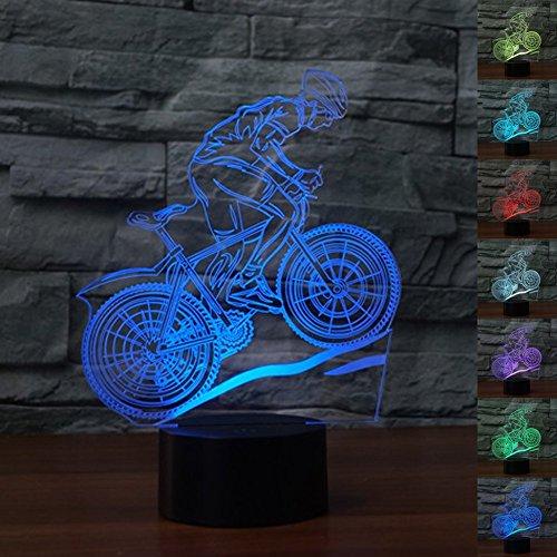 3D Visual Optical Illusion LED Lampe Nachtlichter,KINGCOO Verstellbar 7 Farben Schreibtischlampen Acryl Licht Atmosphäre Touch Tischlampe,Geschenk für Weihnachten(Mountainbike)