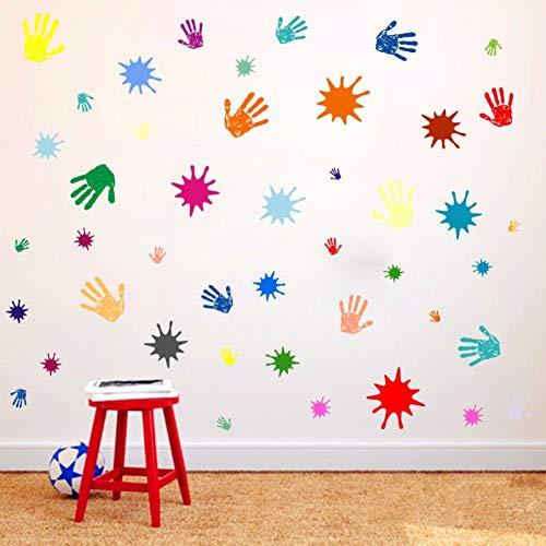 JLZK Acuarela infantil palma graffiti adhesivos de paredhabitación de los niños dormitorio decoración de la pared PVC pegatina mural