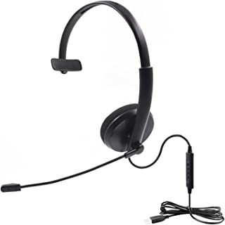 $29 » HSPLOVE HONGSONGPING USB Headset Call Center with Noise Cancelling Mic Volume Adjustable Fit for PC Home Office Customer S...