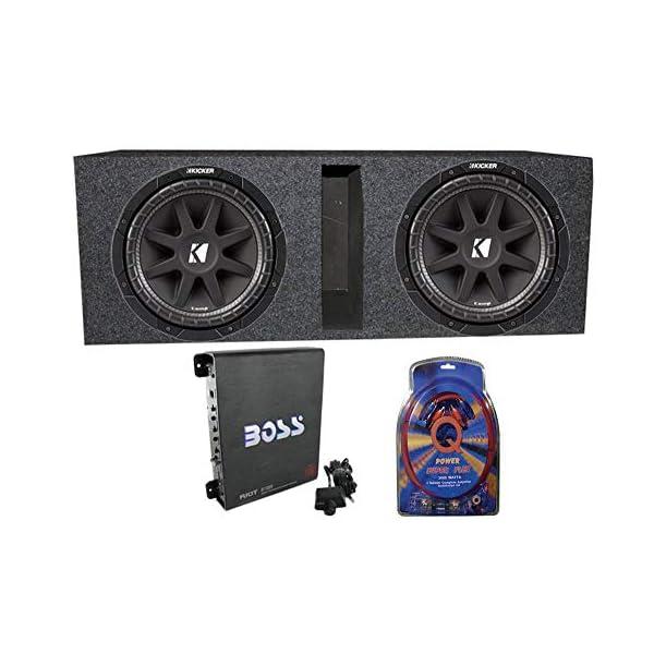 2 Kicker 43C104 10″ 600 Watt Car Subwoofers + Box + 1100W Amplifier + Wire Kit