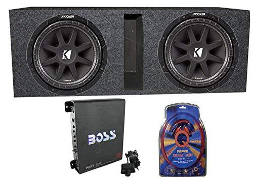 KICKER 2 43C104 10' 600 Watt Car Subwoofers + Box + 1100W Amplifier + Wire...
