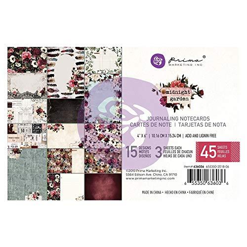 Prima Marketing Midnight Garden Journaling Cards Pad 4X6 45/Pkg-15, 15 Designs/3 Each