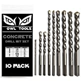 10 Piece Concrete Drill Bits Set (Also Works on Cement, Brick, Cinderblock, Rock, and More!) Chrome Plated with Industrial Strength Carbide Tips - BONUS STORAGE CASE INCLUDED