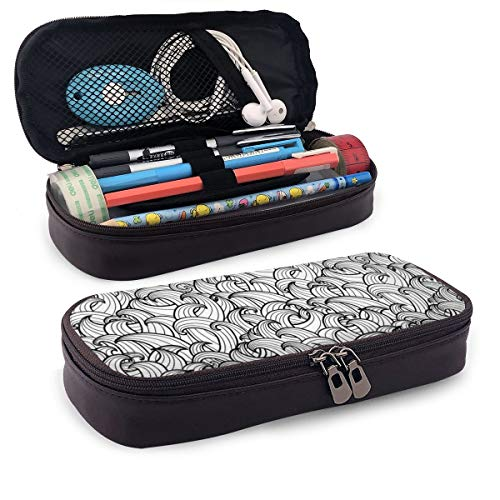 Pencil Case Big Capacity Storage Holder Desk Pen Pencil Marker Stationery Organizer Pencil Pouch with Zipper,Abstract Sea Storm With Curly And Striped Waves Doodle Stream Water Flow