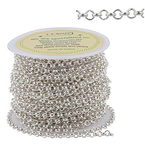 500 Inch Silver Plated Iron Link Cable Chain for Men Women Jewelry Chain DIY Making, 3mm in Width(PN-1042-3S)