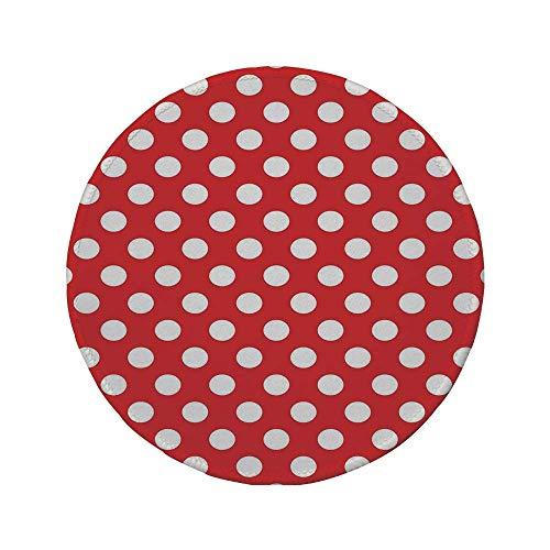 Rutschfreies Gummi-rundes Mauspad Retro 50er 60er Jahre Ikone Pop Art-Stil Große weiße Tupfen Picknick Vintage altes Thema Bild rot und weiß 7,9 'x 7,9' x3MM