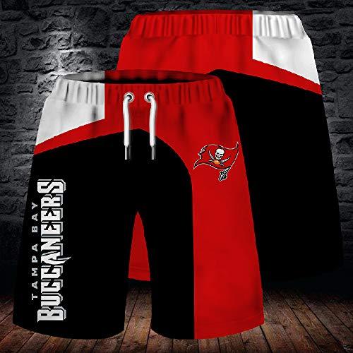 NFL Sommer Herren Shorts, Tampa Bay Piraten Strandhose, 3D gefärbte und gefärbte atmungsaktive Stretch Trainingshose für Outdoor Training und Laufen