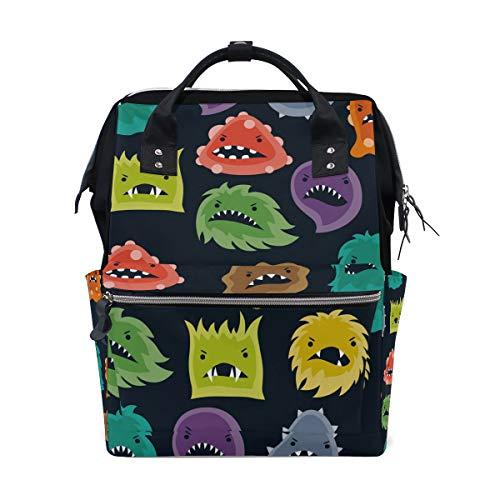 Little Monsters Sac à dos à langer personnalisable pour maman, fille, femme, école, voyage, randonnée, ordinateur portable, bébé