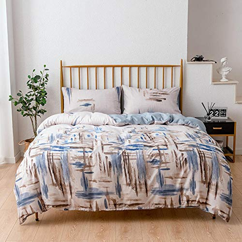 N / A Duvet Cover,Ink Painting Graffiti Bedding 3 Pieces, Duvet Cover With 2 Pillowcases, Adult Bedroom, Single Double, Queen,King @B_168*229cm(2pcs)