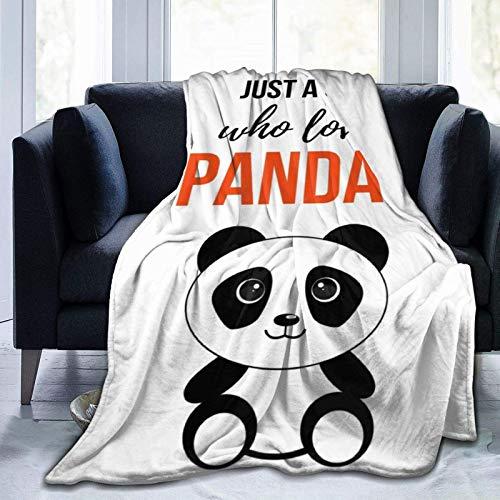 VJSDIUD - Manta de Franela de Forro Polar, Varios Estilos, Solo una Chica Que ama a los Pandas, Colcha Ligera para sofá, Sala de Estar, Todas Las Estaciones, para sofá Cama, 50 x 40 Pulgadas, Manta