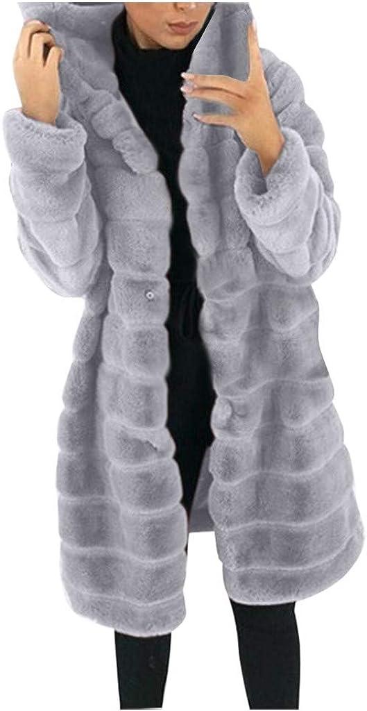 WUAI-Women Thick Warm Faux Fur Hooded Parka Long Overcoat Peacoat Winter Faux Shearling Shaggy Coats Jackets