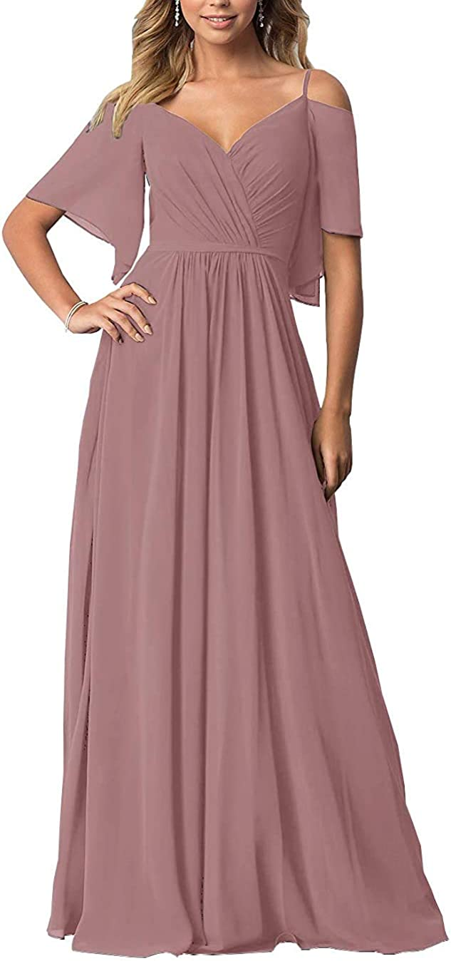 Women's Formal Evening Party Gown Flutter Sleeves Chiffon Bridesmaid Dresses Off The Shoulder