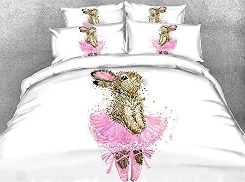 JF-135 Regalo para niños niñas encantador Ballet Bunny con vestido rosa impresión 4pcs juegos de cama