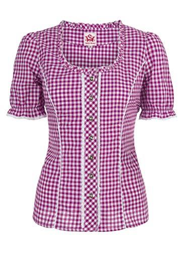 Spieth & Wensky - Karierte Damen Trachten Bluse, Petra (009791-0115), Größe:36, Farbe:Beere/Weiß (2543)