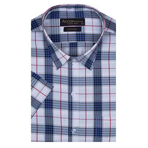 ACCOX Men's Half Sleeves Formal Regular Fit Cotton Check Shirt(GO588)