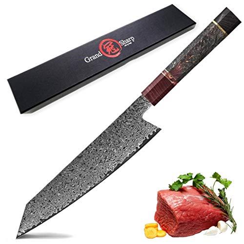 Cuchillo de chef japonés 67 capas japonés Damasco de acero cuchillos de cocina cortando herramientas de cocina Decoración para el hogar Decoración de cocina Diseño de cocina Gadgets Cuchillo de cocina