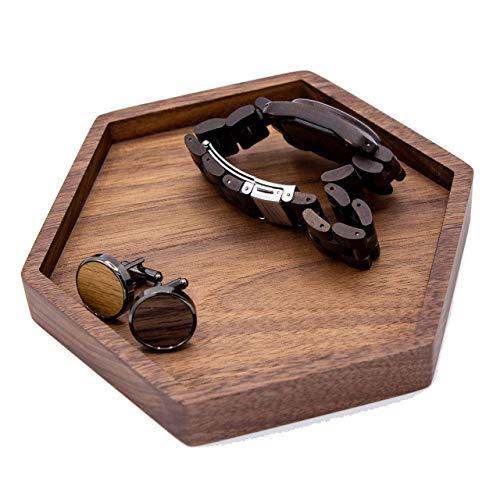 MUUJEE Hexagon Wood Tray - 5 inch Dish for Rings, Jewelry or Trinket, Key Tray