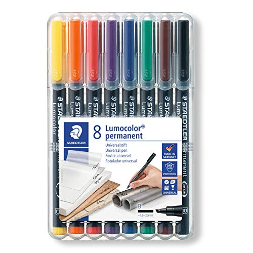 Staedtler Lumocolor 314 WP8. Rotuladores de tinta permanente de colores variados. Blíster con 8 unidades.