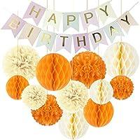 デコレーションパーティー 1セット13Pc紙お誕生日おめでとうバナーパーティーの装飾フラグガーランドハニカムボールポンポンフラワーボーイズガールベビーシャワーの装飾