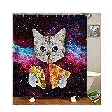 Bishilin Polyester-Stoff 3D Duschvorhang Vintage Katze mit Pizza 3D Lustiger Duschvorhang Vintage 90x180