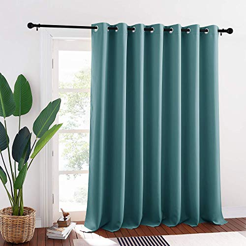 RYB HOME Patio Curtains Blackout - Grommet Curtains Light Block Winter Cold and Summer Heat Insulating Wall Divider Panels for Patio Door Living Room Large Window Decor, W 100 x L 95, Teal
