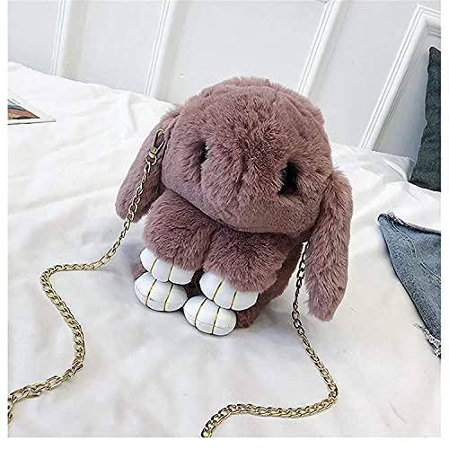 Archile Messenger Bag Rucksack Tasche Plüsch gefüllt Niedlich Plüsch Kaninchen Rucksack 33 cm Mode mädchen pelzkape hase Wolle Ketten Handtasche Frauen lässig plüsch Tote wimpern (Farbe: Bohnenpaste)