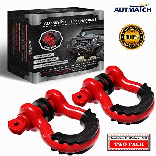 Find Cheap AUTMATCH Shackles 3/4 D Ring Shackle (2 Pack) 41,887Ib Break Strength with 7/8 Screw Pi...