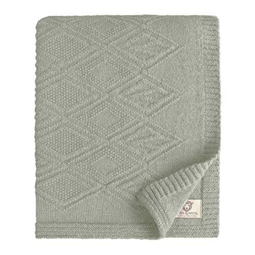 Linen & Cotton Leicht Warme Decke Wolldecke Gestrickt Arianna -100% Reine Neuseeland Wolle, Grau (120 x 180cm) Wohndecke Kuscheldecke Strick Sofadecke Strickdecke Überwurf Plaid Schurwolle Couch Sofa