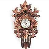 PMU 8KB24 Black Forest Cuckoo Clock, Newly Wood Coo Coo Clock Decorative Wall Clock with Swinging Pendulum - Traditional Wooden Handicraft for Home Livingroom Decor