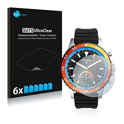 Savvies 6X Schutzfolie kompatibel mit Fossil Q Crewmaster FTW1124 Bildschirmschutz-Folie Ultra-transparent