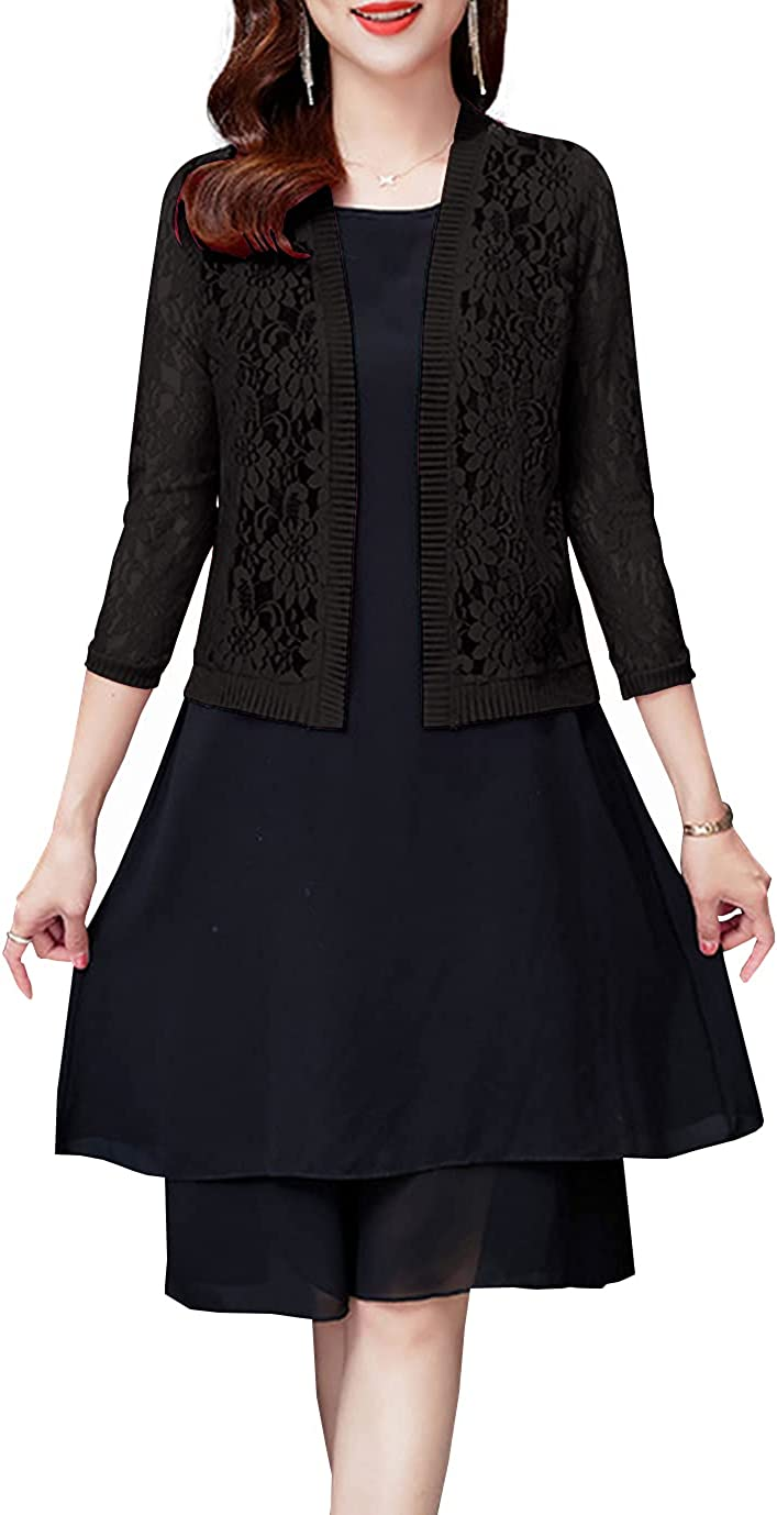 Duyang Women's Casual Shrug Cardigan Lace Open Front Long Sleeve Cover Up Blouse Top