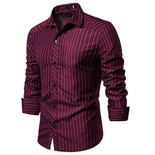 DNOQN Sport T Shirt Sweater Herren Gestreiftes Shirt Herren Gestreift Taste Slim Fit Abdrehen Halsband Lange Ärmel Top Bluse Shirt XXL