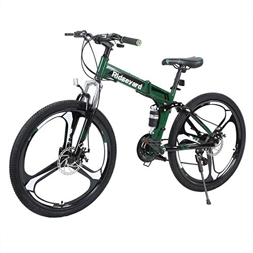 26 Pollici 21 Velocit Pieghevole Bicicletta Adulti Bike MTB Freni a Disco Mountain Bike Unisexe (Nero + Verde)