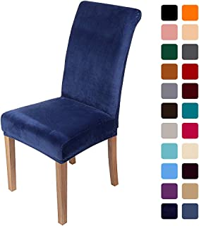 smiry Velvet Stretch Dining Room Chair Covers Soft Removable Dining Chair Slipcovers Set of 4, Navy Blue