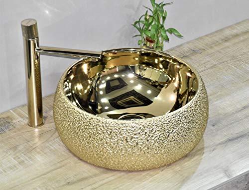 InArt Keramik Waschbecken Arbeitsplatte Waschbecken / Waschbecken für Badezimmer Gästetoilette / Arbeitsplatte Waschbecken Handwaschbecken runden form 40 x 40 x 15 CM (Gold)