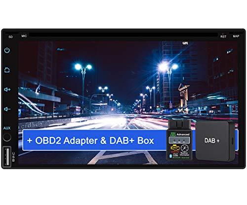 Tristan Auron BT2D7018A-DVD Android 9.0 Autoradio mit Navi + DAB+ Box OBD2 Adapter I 7\'\' Touchscreen Bildschirm I Bluetooth Freisprecheinrichtung I Quad Core GPS CD DVD USB SD - 2 DIN