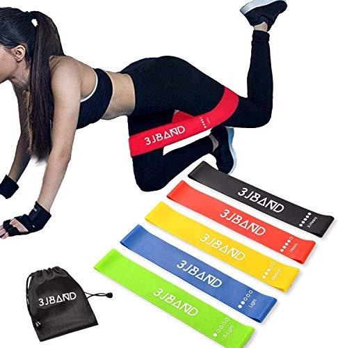 3JBAND - Fascia elastica per fitness, confezione da 5, in lattice naturale, per esercizi di sollevamento pesi, pilates, yoga, 5 livelli di forza, con custodia