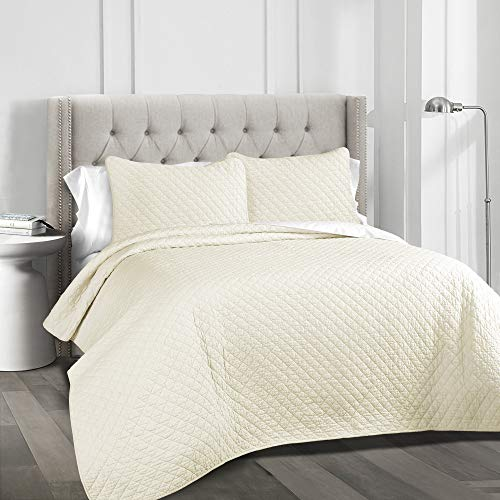 Lush Decor Ava Diamond Oversized 3 Piece Cotton Quilt Set, King, Ivory