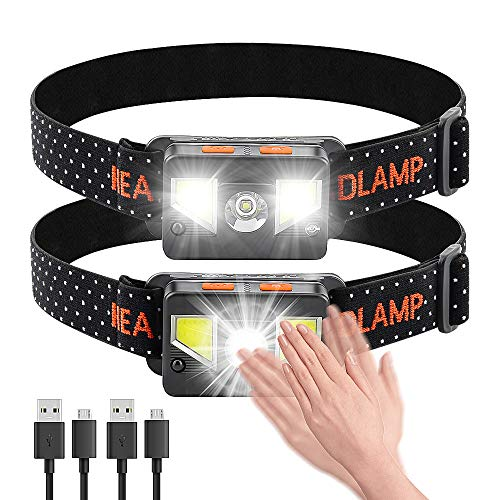 Bedee LED Headlamp Flashlight [2 Pack], USB Rechageable Bright Headlight with 8 Light Mode, Lightweight & Comfy Headband, Perfect for Camping, Running, Hiking - Outdoor Head Lamp with Red Safety Light