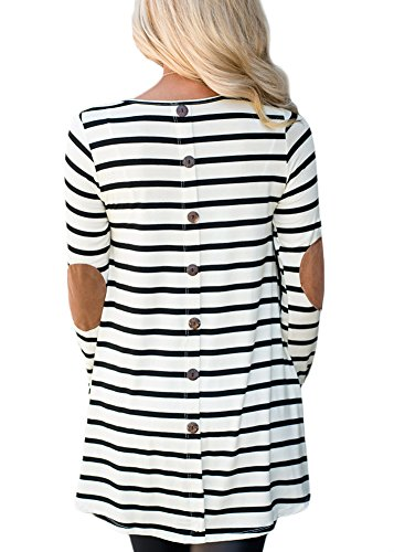Women Round Neck Long Sleeve Blouse Cotton Striped Casual Shirts Button Tunic Tops Striped S