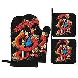 yongxing Hua Mulan - Juego de 4 guantes de horno y portacacerolas para cocina antideslizante, guantes de horno de cocina y horno