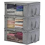 Sorbus Foldable Storage Bag Organizers, Large Clear Window & Carry Handles, Great for Clothes, Blankets,...