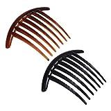 Lurrose 20pcs francés Twist Peine Decorativo peines Laterales de Pelo Tortuga Shell Combs para Mujeres niñas (Negro + café)