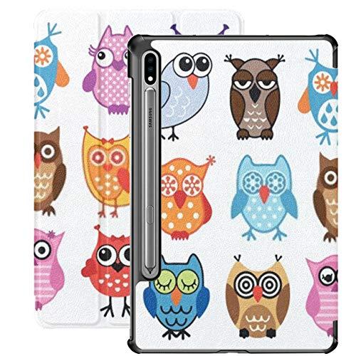Funda para Galaxy Tab S7 Funda Delgada y Liviana con Soporte para Tableta Samsung Galaxy Tab S7 de 11 Pulgadas Sm-t870 Sm-t875 Sm-t878 2020 Release, Set Cartoon Colorful Owls Isolate On