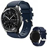 DOB SECHS 22mm Silicone Watch Band Compatible with Samsung Galaxy Watch 3 45mm/Gear S3 Frontier/Classic/Galaxy Watch 46mm/Huawei Watch GT2 Pro/GT 2e/GT 46mm/GT2 / Moto 360 2nd Gen 46mm, Navy