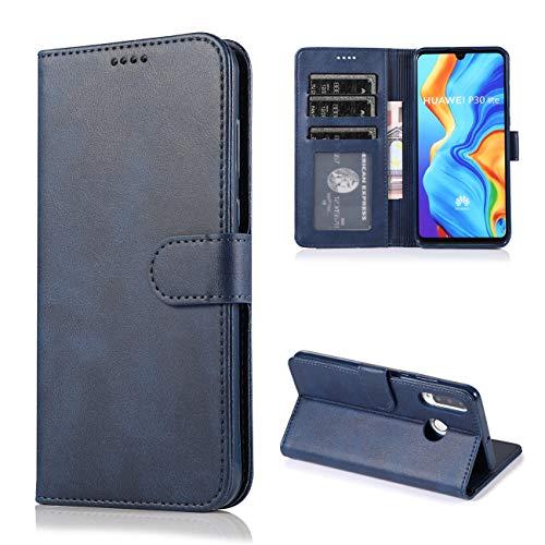 Preisvergleich Produktbild JOYTAG Kompatibel für Huawei P30 Lite Hülle Flip Wallet Holster PU Lederhülle mit Kreditkarte Schlitz Unterstützung Weicher TPU Silikon Stoßstange Handyhülle-Blau