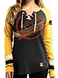 "Vancouver Canucks Women's NHL Majestic ""Vintage Hip Check"" Lace Up V-Neck Shirt -"
