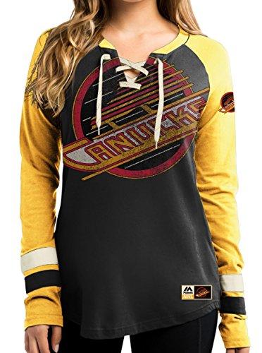 NHL T-Shirt Trikot Damen Women VANCOUVER CANUCKS Vintage HipCheck Eishockey Shirt (X-LARGE)