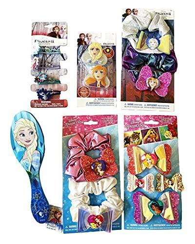 Disney Princess Hair Accessories Bundle of 6. 4pk Hair Bow on Card. 2 Princess Hair Scrunchies. FrozenII 4 Hair Elastics - Ponytails. Frozen II 2pk Scrunchy on Card. Frozen II 2PK Light Up Hair Clips on Card. 1 Brush.
